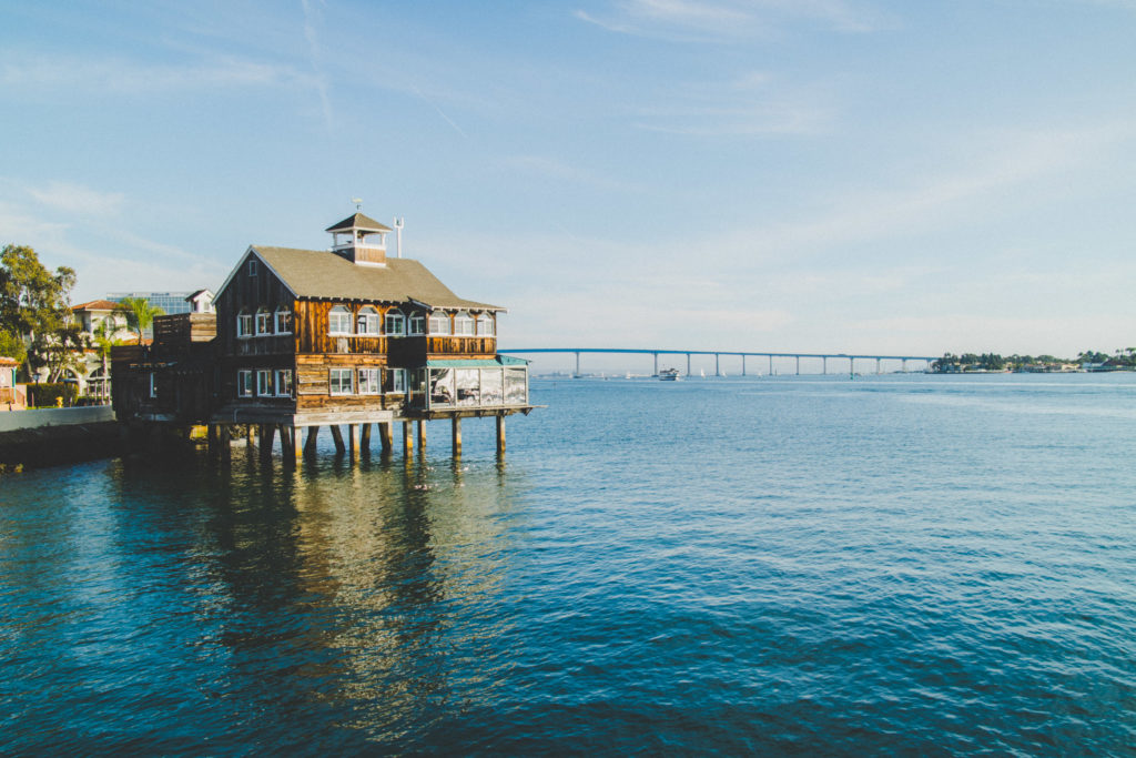 Boat house restaurant in Seaport Village, San Diego