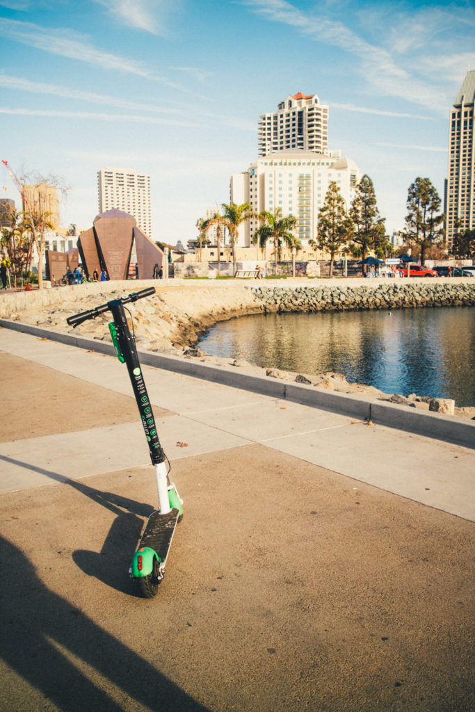 Lime scooter in Seaport Village's harbor in San Diego