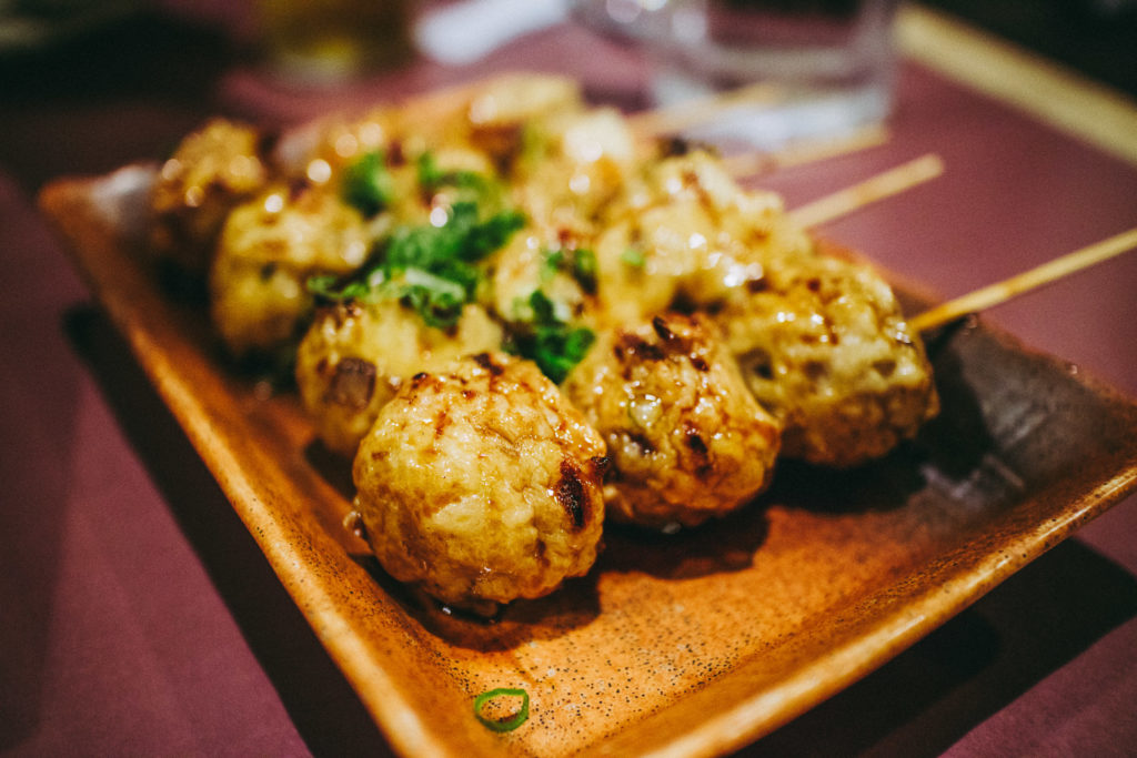 Chicken Meatballs at Yakitori